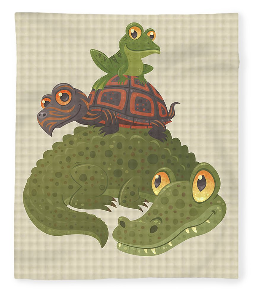 Alligator Fleece Blanket featuring the digital art Swamp Squad by John Schwegel