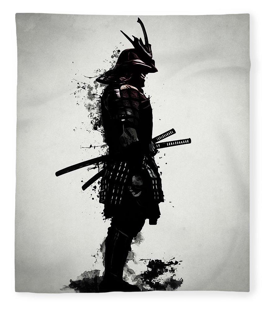 Samurai Fleece Blanket featuring the mixed media Armored Samurai by Nicklas Gustafsson