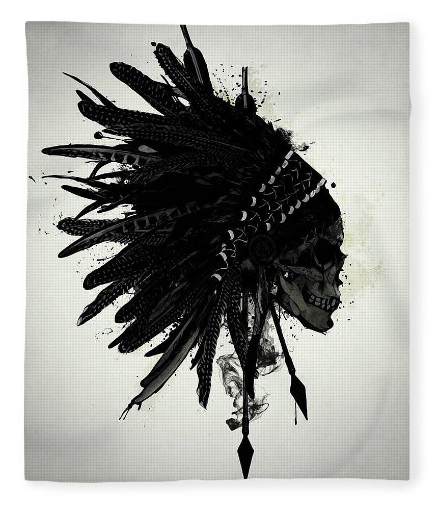Indian Fleece Blanket featuring the digital art Warbonnet Skull by Nicklas Gustafsson
