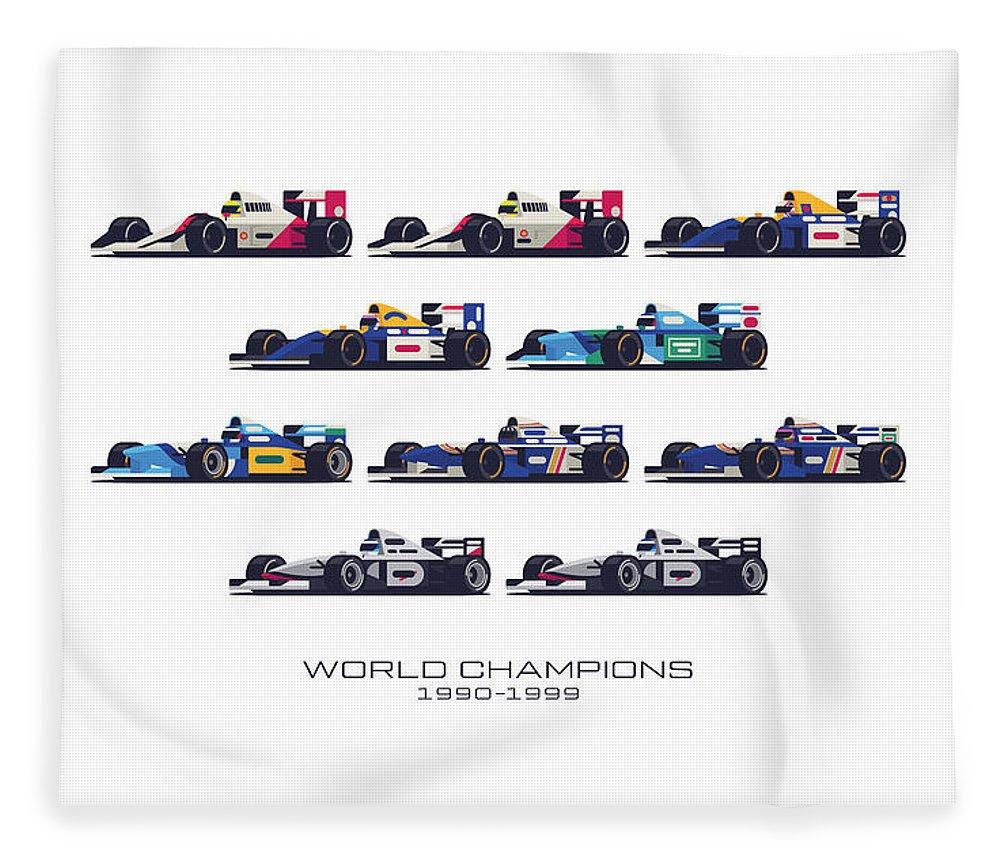 F1 Fleece Blanket featuring the digital art F1 World Champions 1990s - White by Ivan Krpan