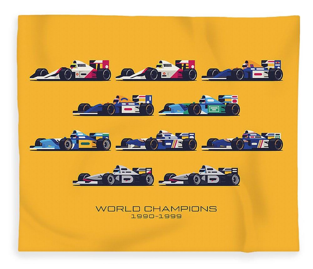 F1 Fleece Blanket featuring the digital art F1 World Champions 1990s - Yellow by Ivan Krpan