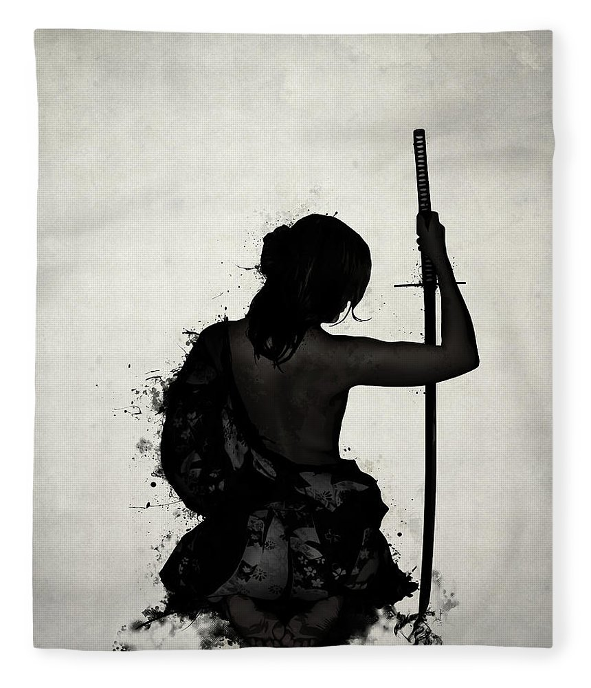 Female Fleece Blanket featuring the digital art Female Samurai - Onna Bugeisha by Nicklas Gustafsson
