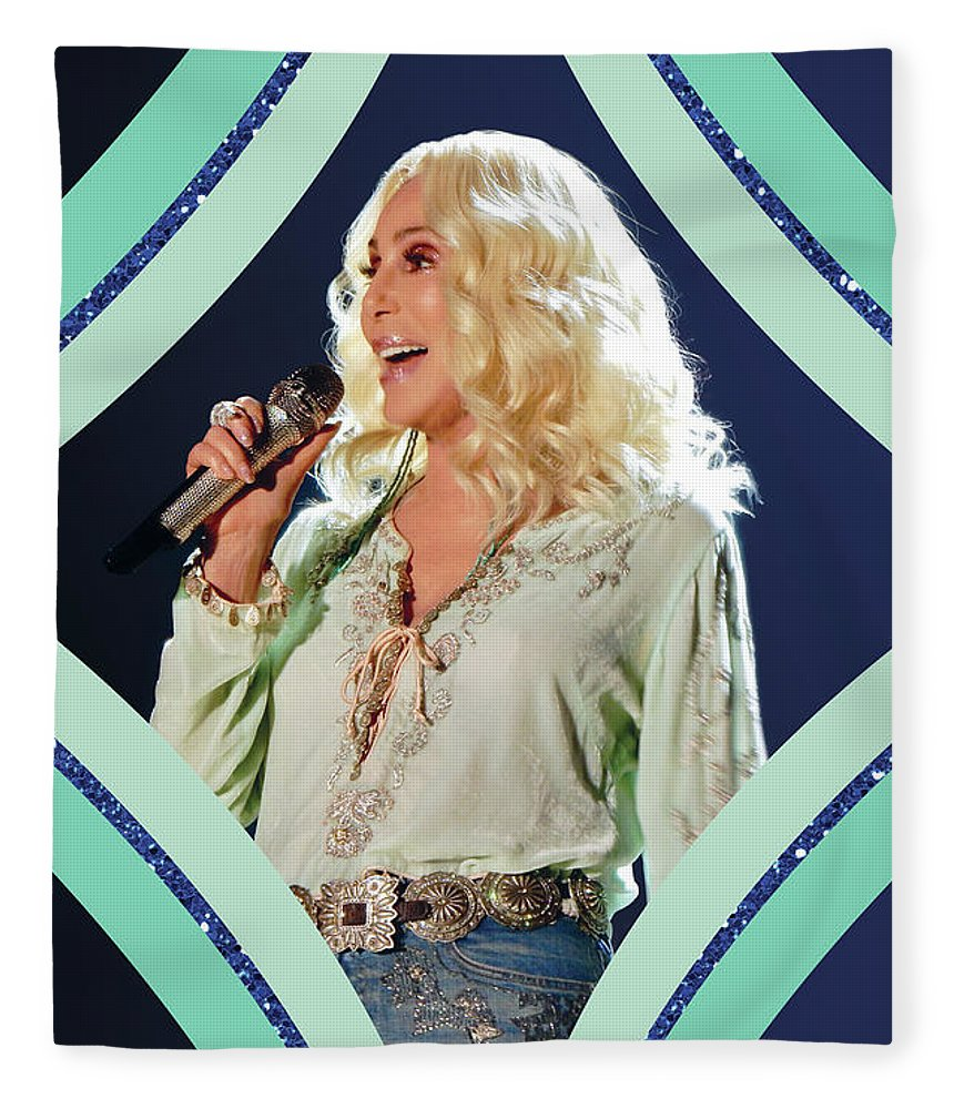 Cher Fleece Blanket featuring the digital art Cher - Teal Diamond by Cher Style