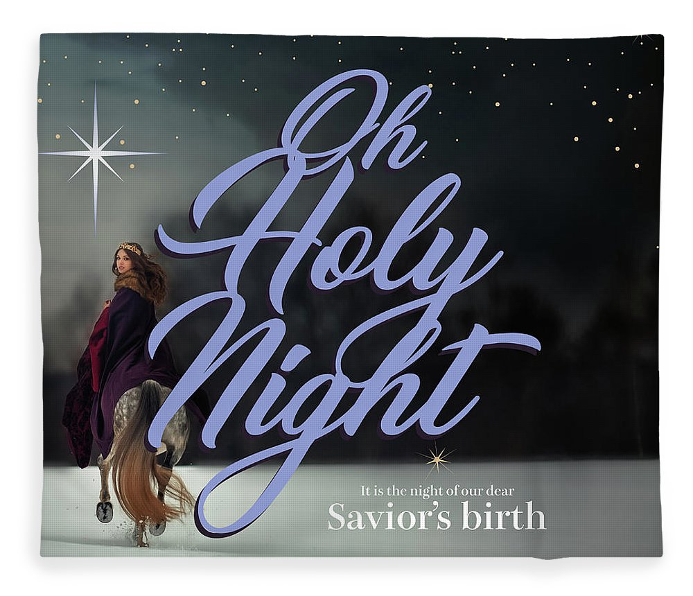 Oh Holy Night Fleece Blanket featuring the digital art Savior's Birth by Claire Tingen