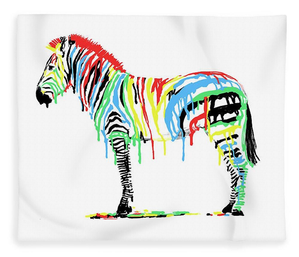 Zebra Fleece Blanket featuring the drawing Fresh Paint by Eric Fan