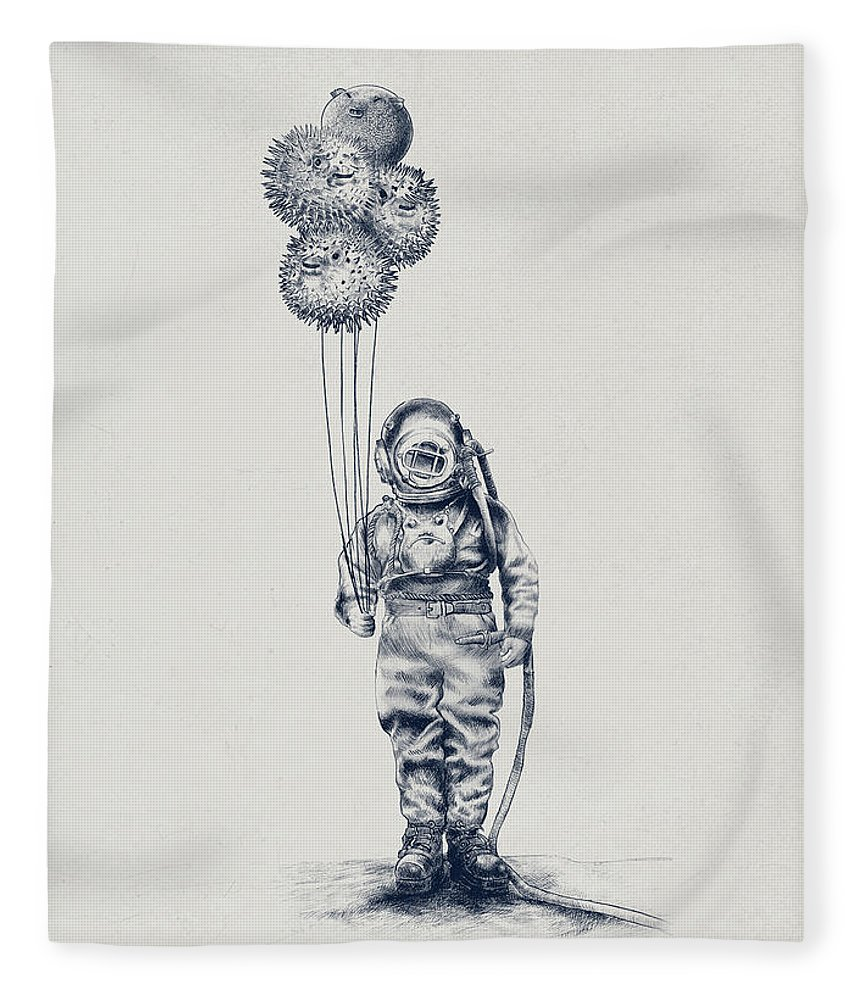 Pen And Ink Fleece Blanket featuring the drawing Balloon Fish option by Eric Fan
