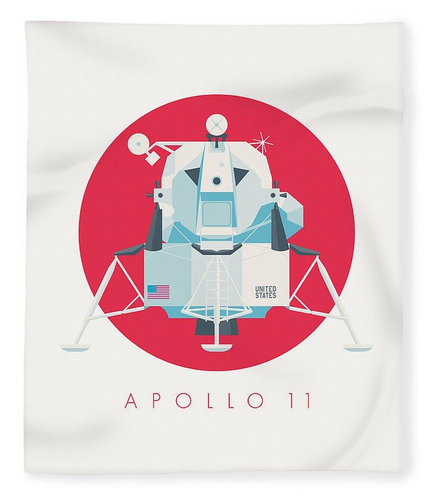 Apollo 11 Fleece Blanket featuring the digital art Apollo Lunar Module Lander Minimal - Text Crimson by Ivan Krpan
