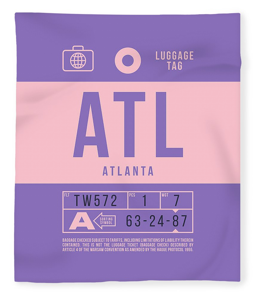 Airline Fleece Blanket featuring the digital art Retro Airline Luggage Tag 2.0 - Atl Atlanta United States by Ivan Krpan