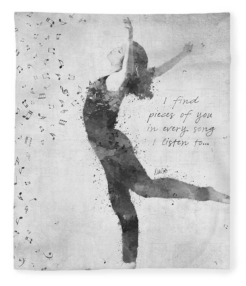 Music; Dancer; Dance; Ballet; Pieces Of You; Song; Lyrics; B&w; Black And White; Watercolor; Deanna Mondello; Spirit; Heart; Soul; Passion; Singer; Talented; Vibrant; Activism; Artwork; Digital Watercolor; Songwriter; Singing; Love; Motion; Grace; Movement; Fluidity; Rhythm; Memory; Woman; Female; Notes; Pointe; Nikki Smith; Remember; Adagio; Ballerina; Arabesque; Black; White Fleece Blanket featuring the digital art Beloved Deanna Radiating Love And Light In Black And White by Nikki Marie Smith