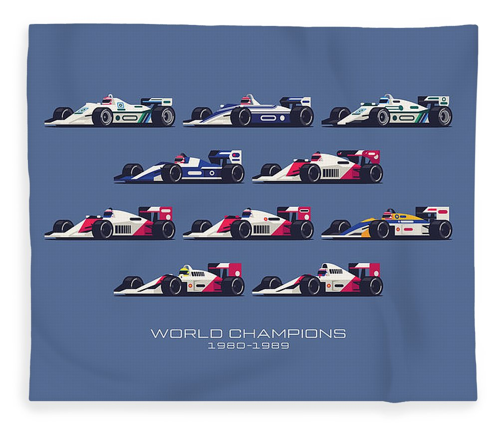 F1 Fleece Blanket featuring the digital art F1 World Champions 1980s - Midnight by Organic Synthesis