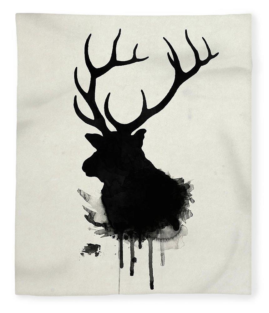 Elk Fleece Blanket featuring the drawing Elk by Nicklas Gustafsson
