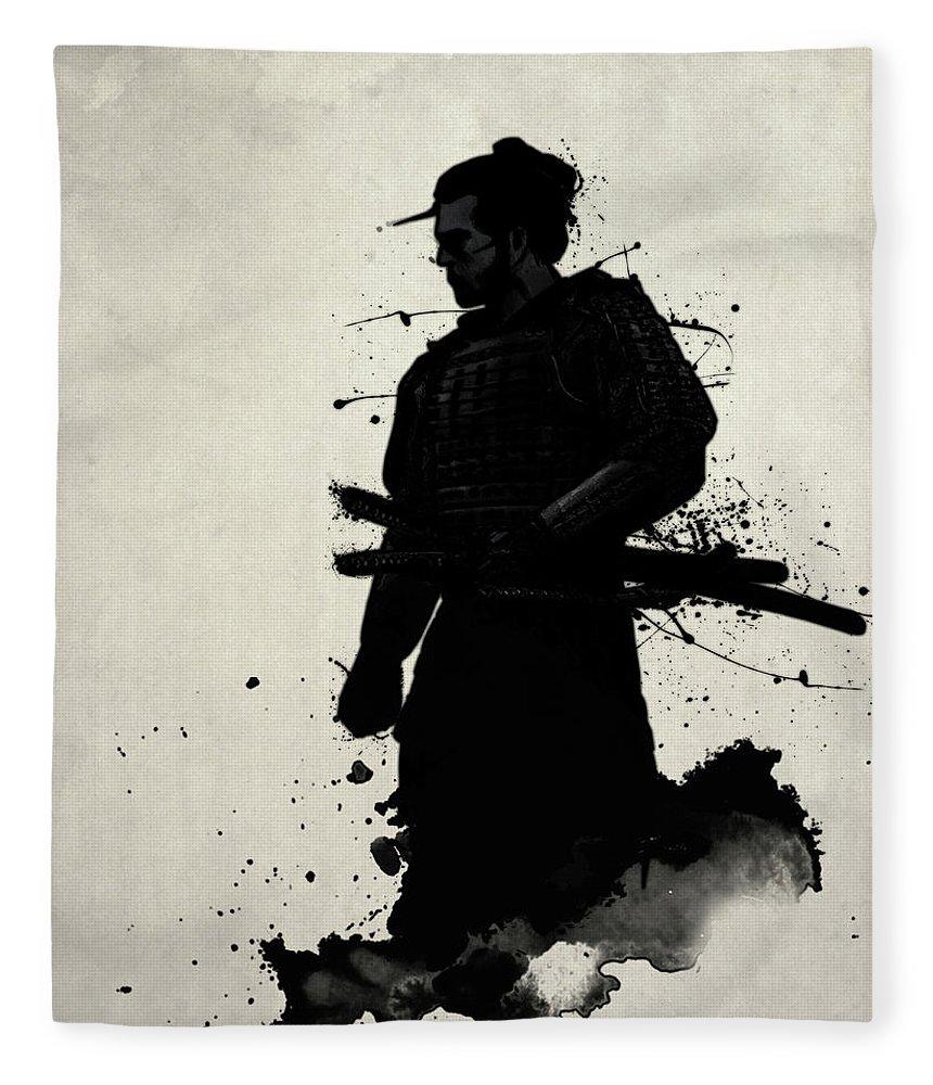 Samurai Fleece Blanket featuring the painting Samurai by Nicklas Gustafsson