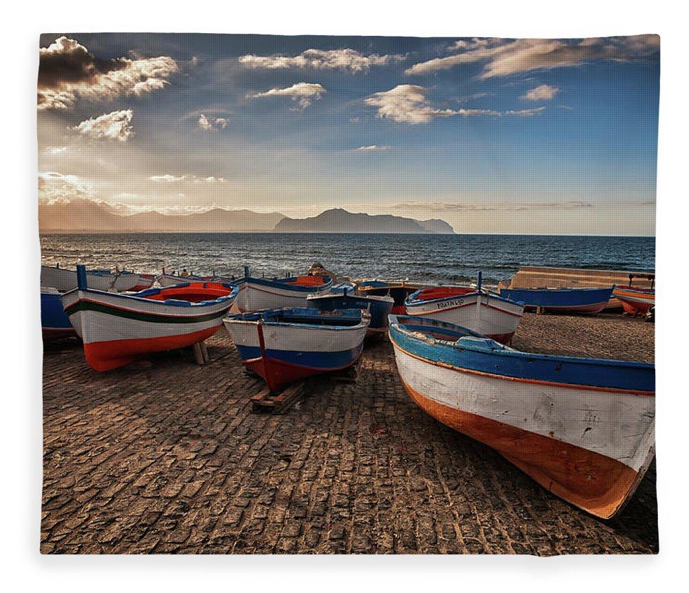 Sicily Fleece Blanket featuring the photograph Aspra Boatyard by Fabio Montalto
