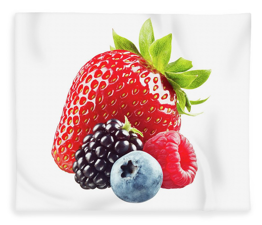 White Background Fleece Blanket featuring the photograph Assorted Berries On White Background by Lauren Burke