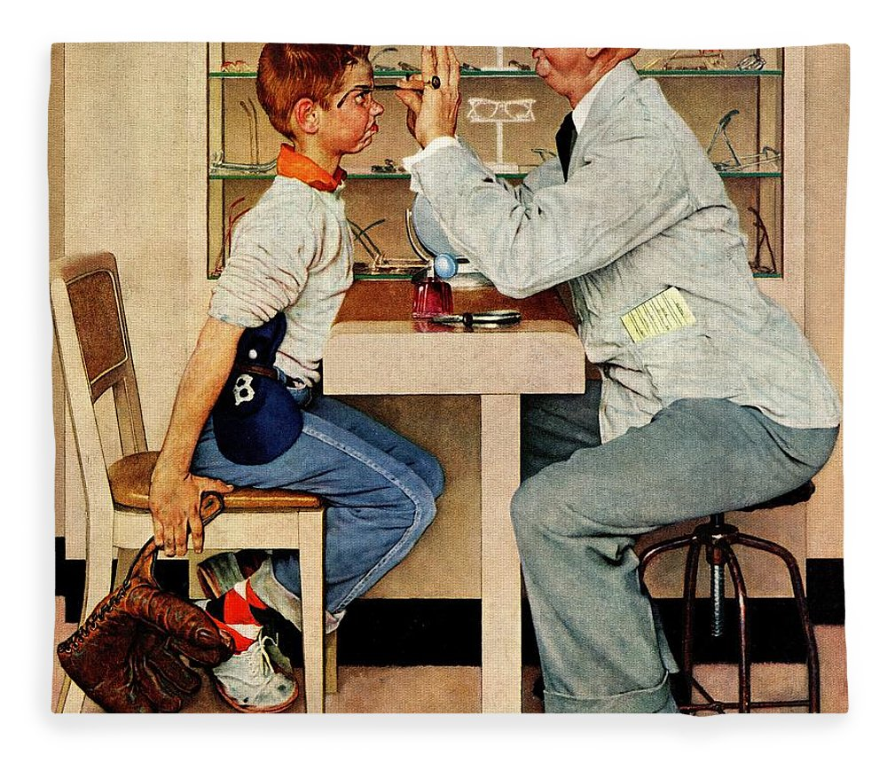 Boys Fleece Blanket featuring the drawing At The Optometrist by Norman Rockwell