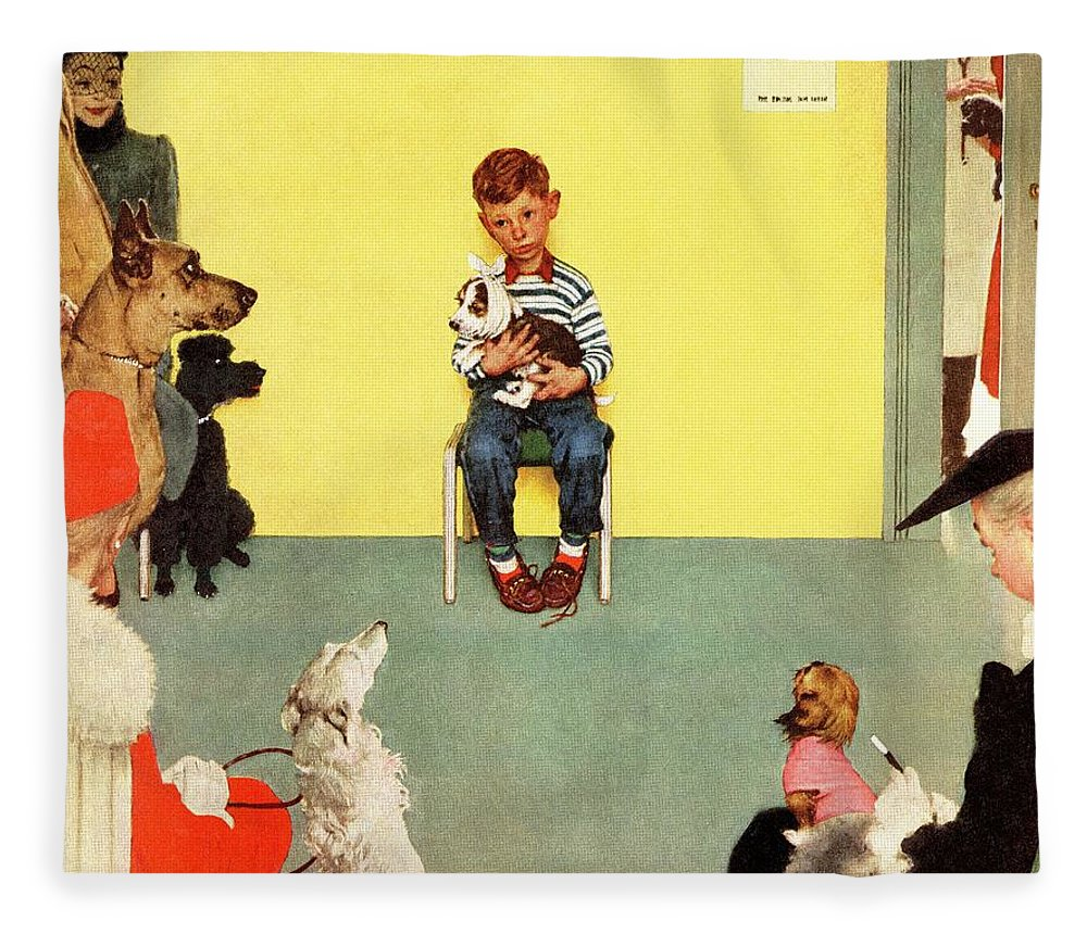 Boy Fleece Blanket featuring the drawing At The Vets by Norman Rockwell