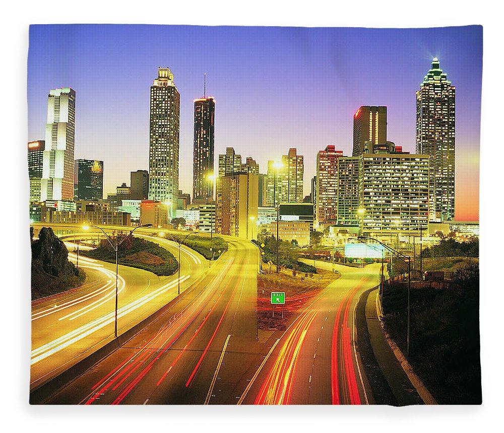 Atlanta Fleece Blanket featuring the photograph Atlanta Skyline, Georgia, Usa by Travel Ink