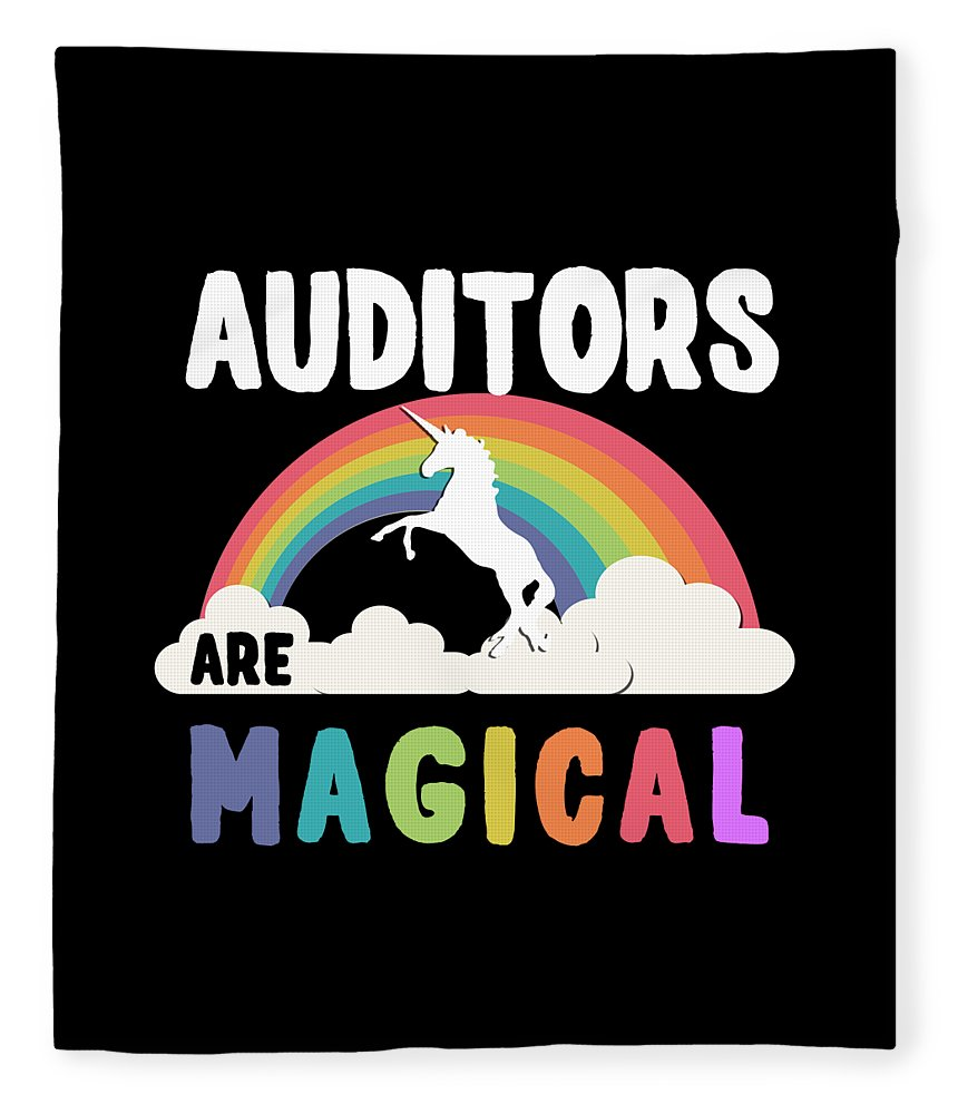 Unicorn Fleece Blanket featuring the digital art Auditors Are Magical by Flippin Sweet Gear
