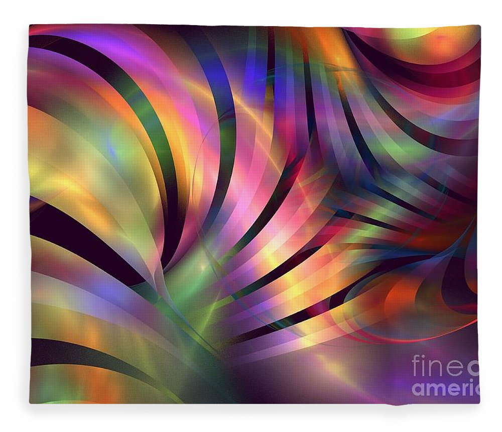 Apophysis Fleece Blanket featuring the digital art Aurora Borealis by Kim Sy Ok