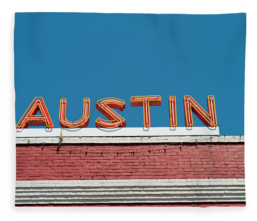 Sunlight Fleece Blanket featuring the photograph Austin Neon Sign by Austinartist