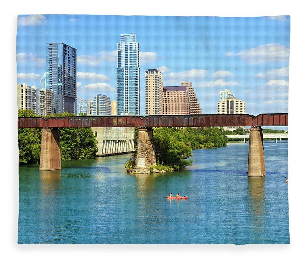 Scenics Fleece Blanket featuring the photograph Austin Texas Skyline, Colorado River by Dszc