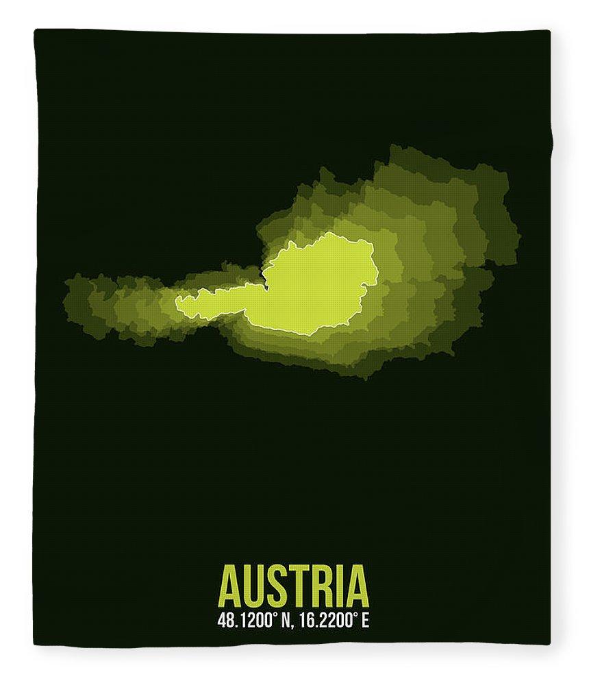 Map Of Austria Fleece Blanket featuring the digital art Austria Radiant Map 3 by Naxart Studio