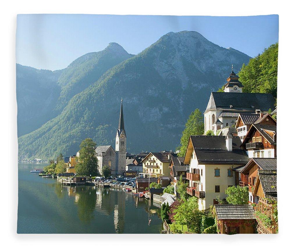 Scenics Fleece Blanket featuring the photograph Austria, Salzburger Land, Hallstatt by Manchan