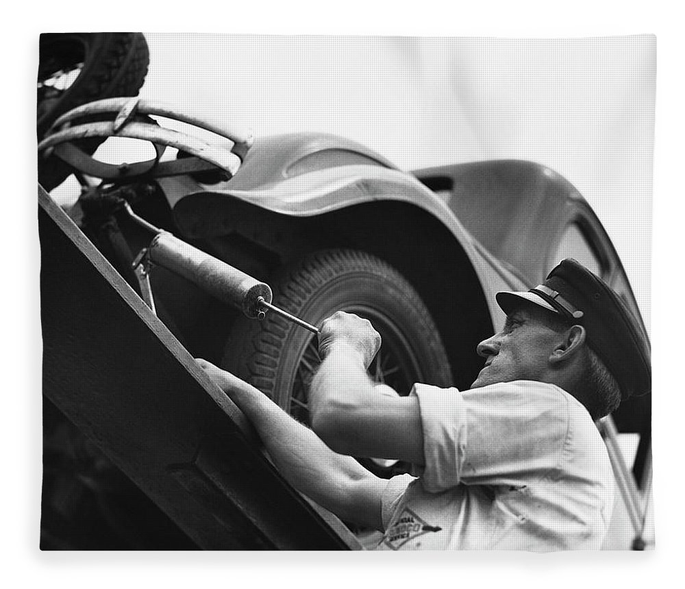 Working Fleece Blanket featuring the photograph Auto Mechanic Vintage by George Marks