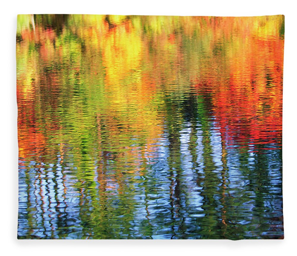 Outdoors Fleece Blanket featuring the photograph Autumn Color Reflection by Ooyoo