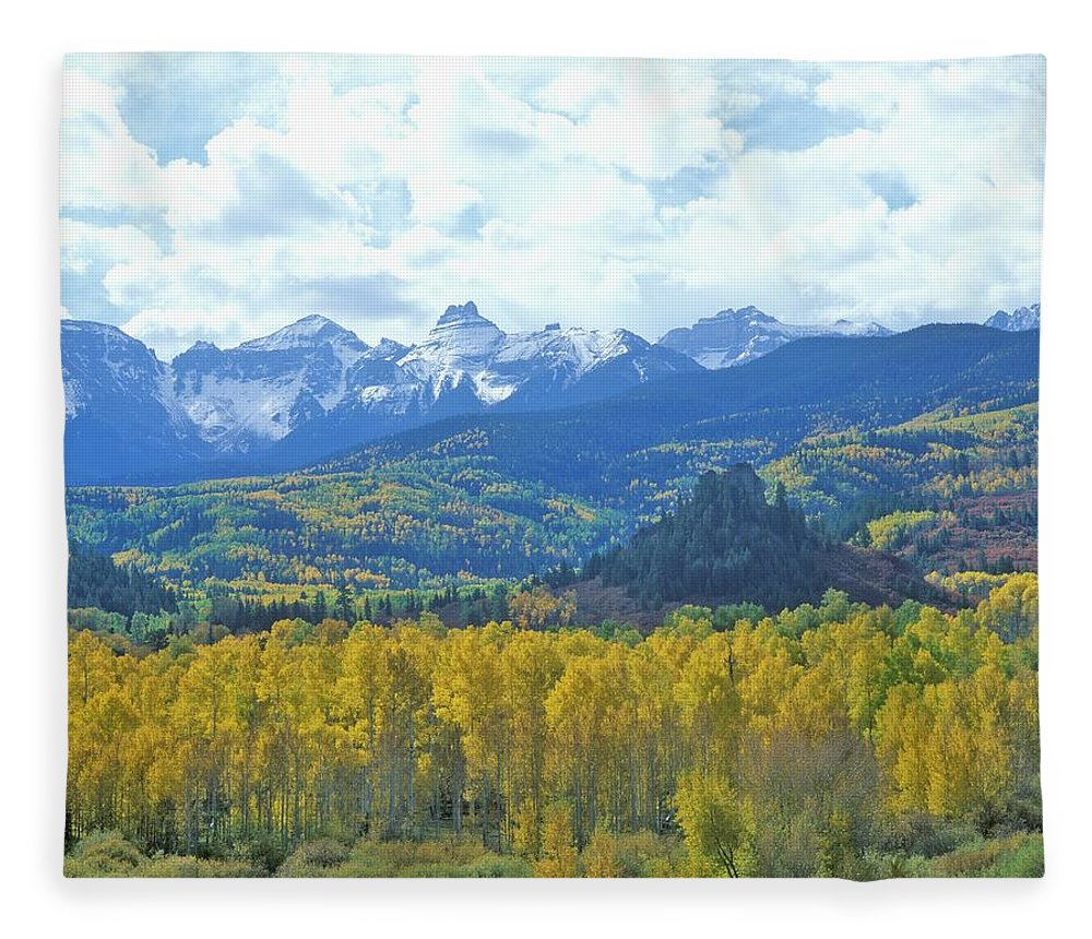 Scenics Fleece Blanket featuring the photograph Autumn Colors In The Sneffels Mountain by Visionsofamerica/joe Sohm
