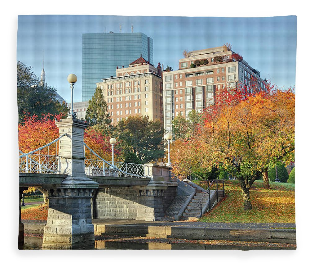 Downtown District Fleece Blanket featuring the photograph Autumn In Boston by Denistangneyjr