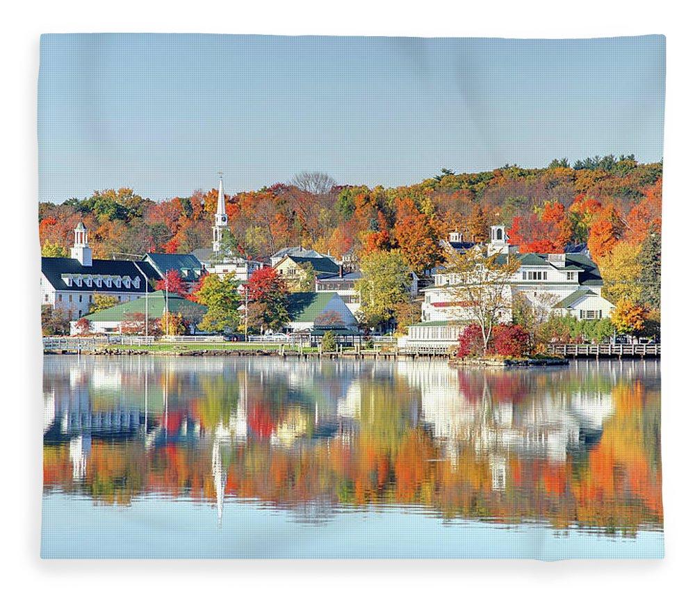 Scenics Fleece Blanket featuring the photograph Autumn On Lake Winnipesaukee by Denistangneyjr