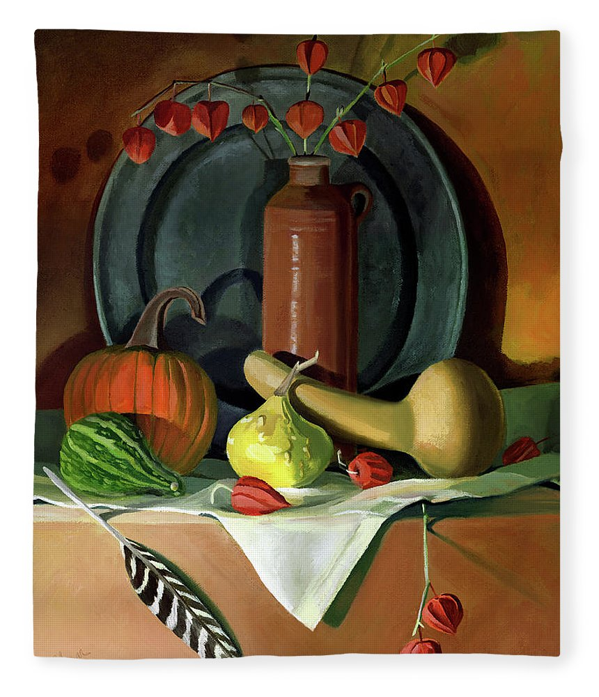 Still Life Fleece Blanket featuring the painting Autumn Still Life by Nancy Griswold