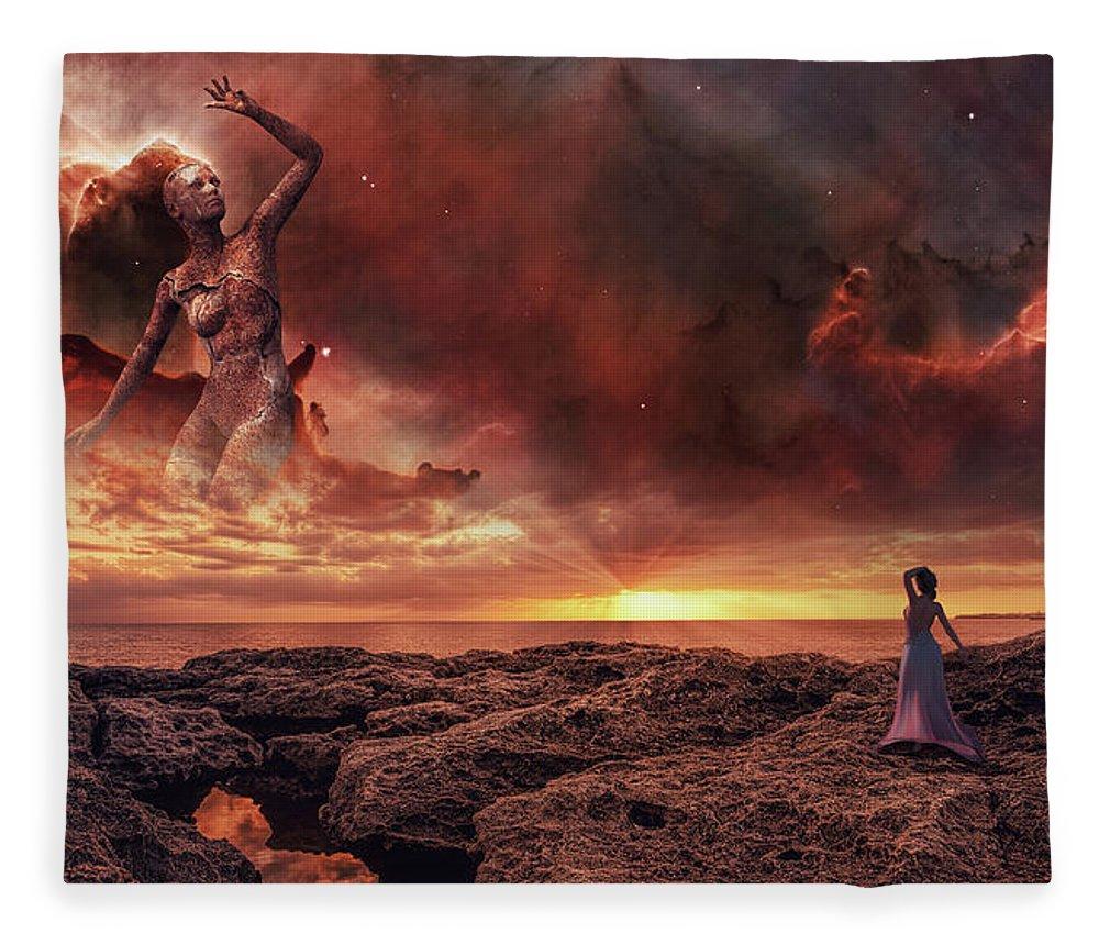 Sunset Fleece Blanket featuring the digital art Awakening Light by Mihaela Pater