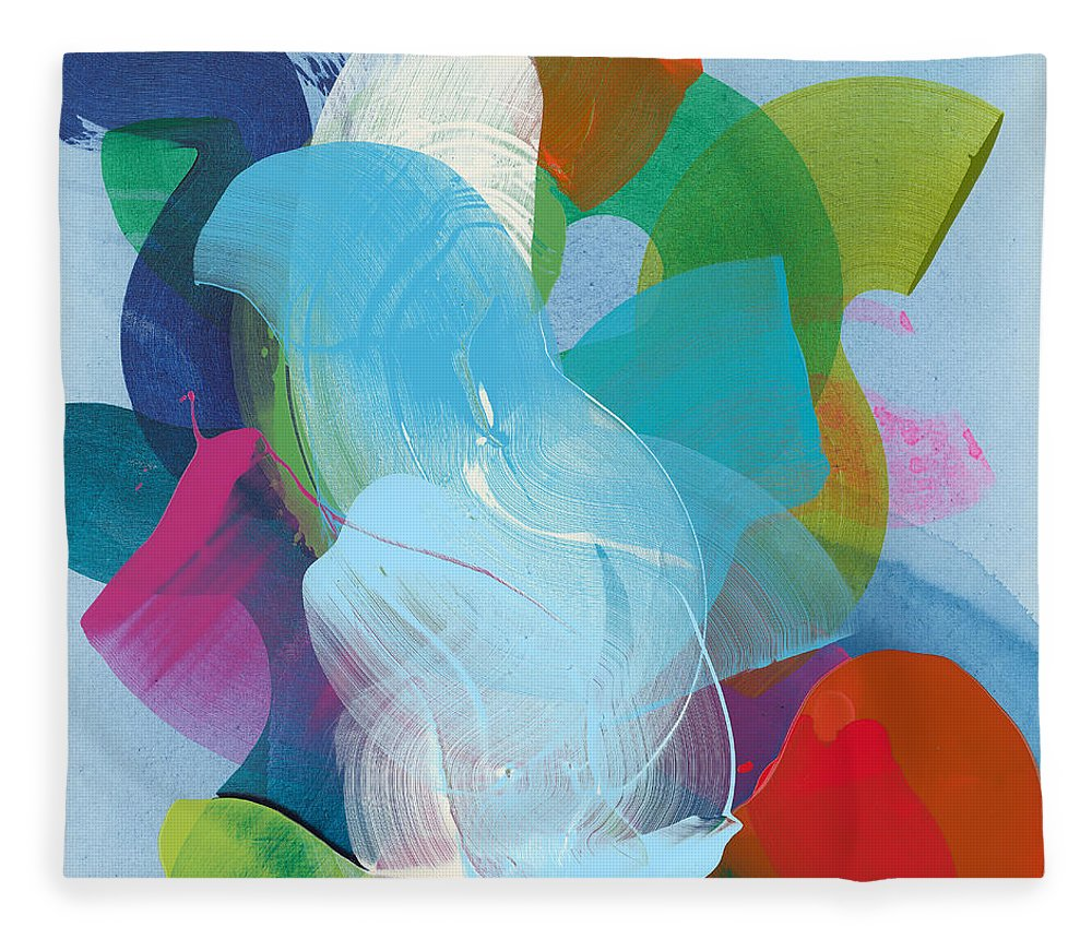 Abstract Fleece Blanket featuring the painting Away A While by Claire Desjardins