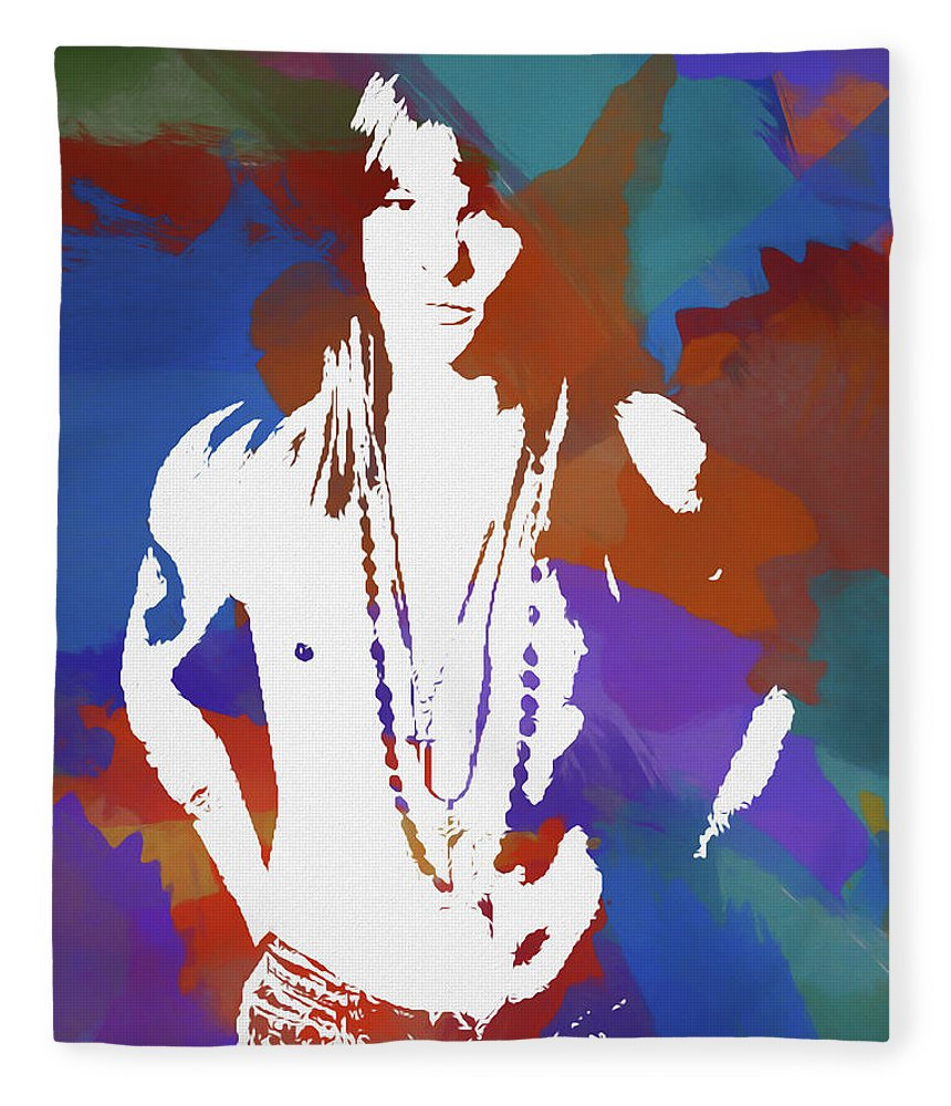 Axl Rose Fleece Blanket featuring the painting Axl Rose Color Blast by Dan Sproul