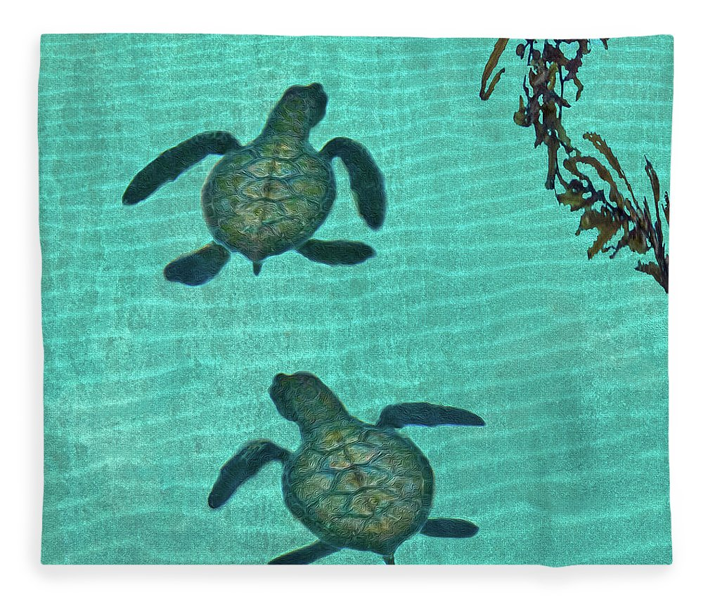 Seaweed Fleece Blanket featuring the photograph Baby Sea Turtles by Melinda Moore