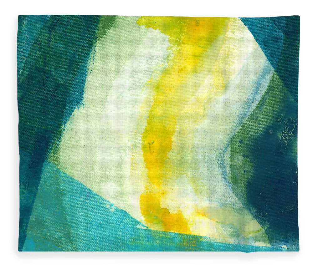 Abstract Fleece Blanket featuring the painting Back by Claire Desjardins