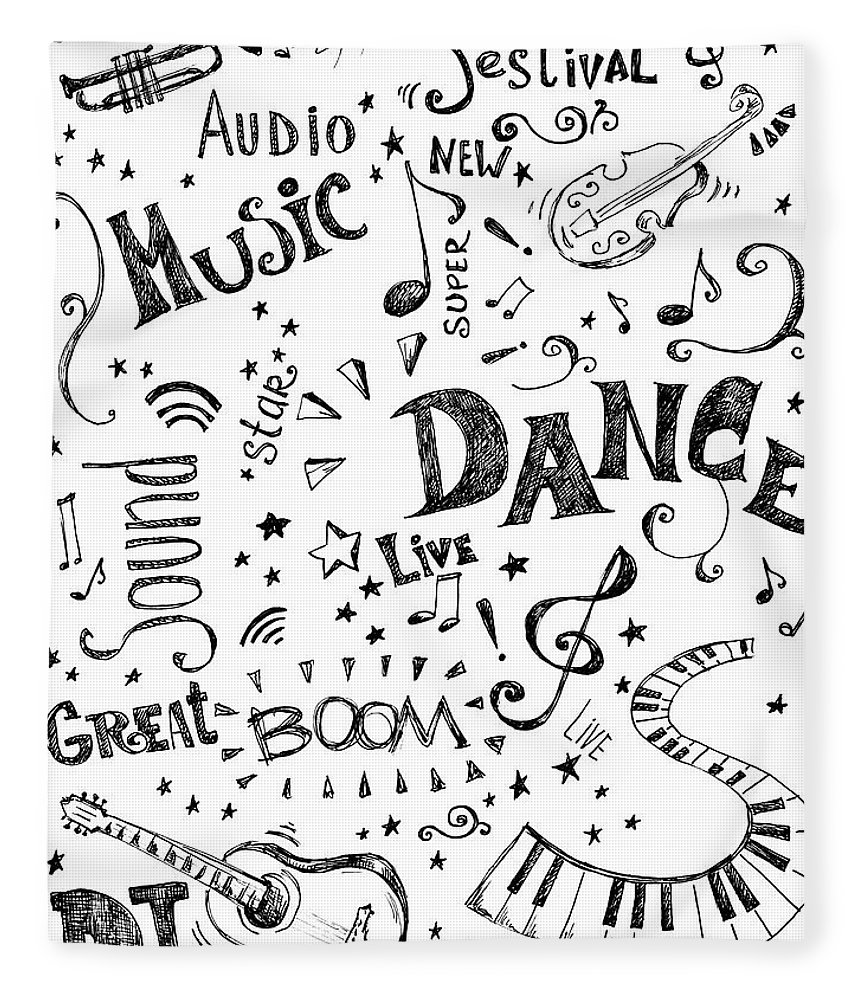 Rock Music Fleece Blanket featuring the digital art Background Made Up Of Music Doodles by Kalistratova