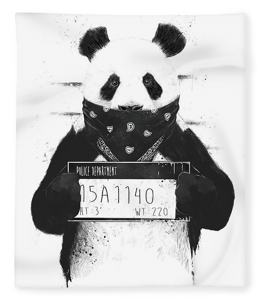 Panda Fleece Blanket featuring the drawing Bad panda by Balazs Solti