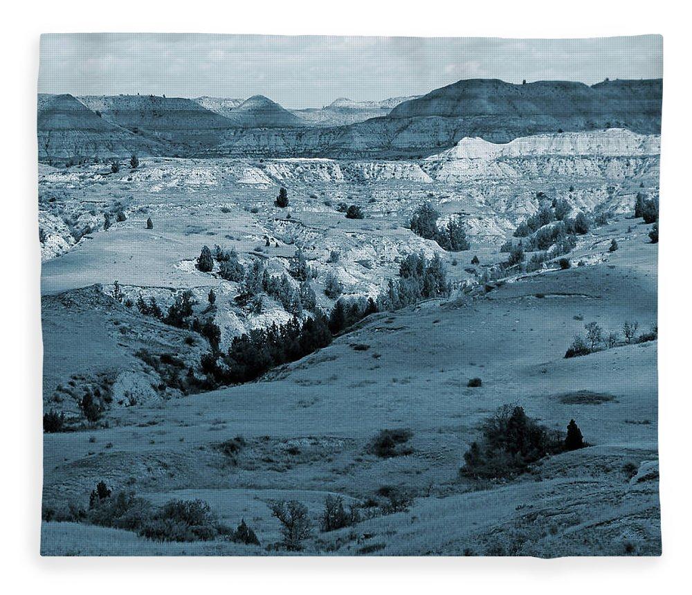 North Dakota Fleece Blanket featuring the photograph Badlands Shadows And Sunlight by Cris Fulton