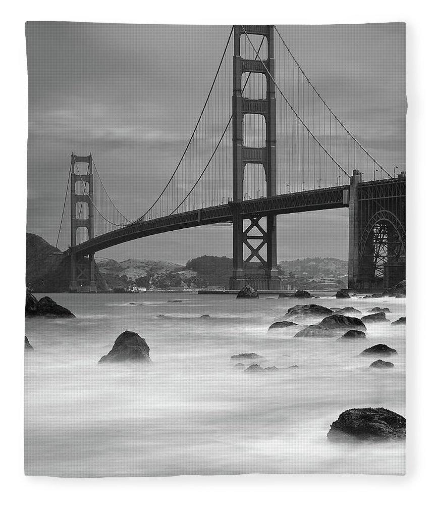 Tranquility Fleece Blanket featuring the photograph Baker Beach Impressions by Sebastian Schlueter (sibbiblue)