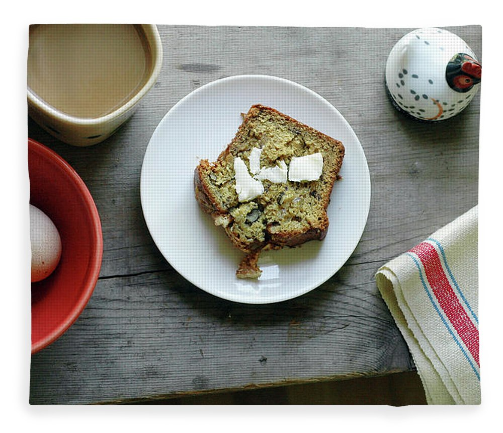 Domestic Room Fleece Blanket featuring the photograph Banana Bread For Breakfast by Jennifer Causey