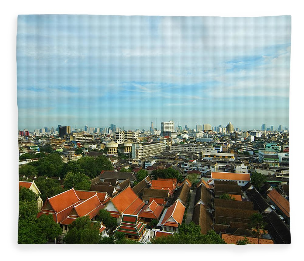 Tropical Tree Fleece Blanket featuring the photograph Bangkok View With Temple Roofs 2 by Sndrk