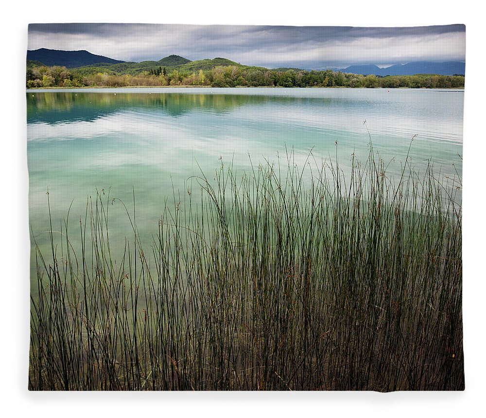 Scenics Fleece Blanket featuring the photograph Banyoles And Lake Banyoles In Catalonia by Marc Princivalle For Imagesconcept.com