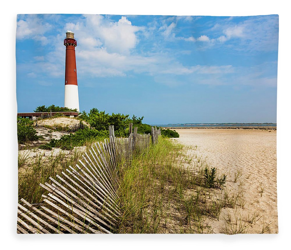 Water's Edge Fleece Blanket featuring the photograph Barnegat Lighthouse, Sand, Beach, Dune by Dszc