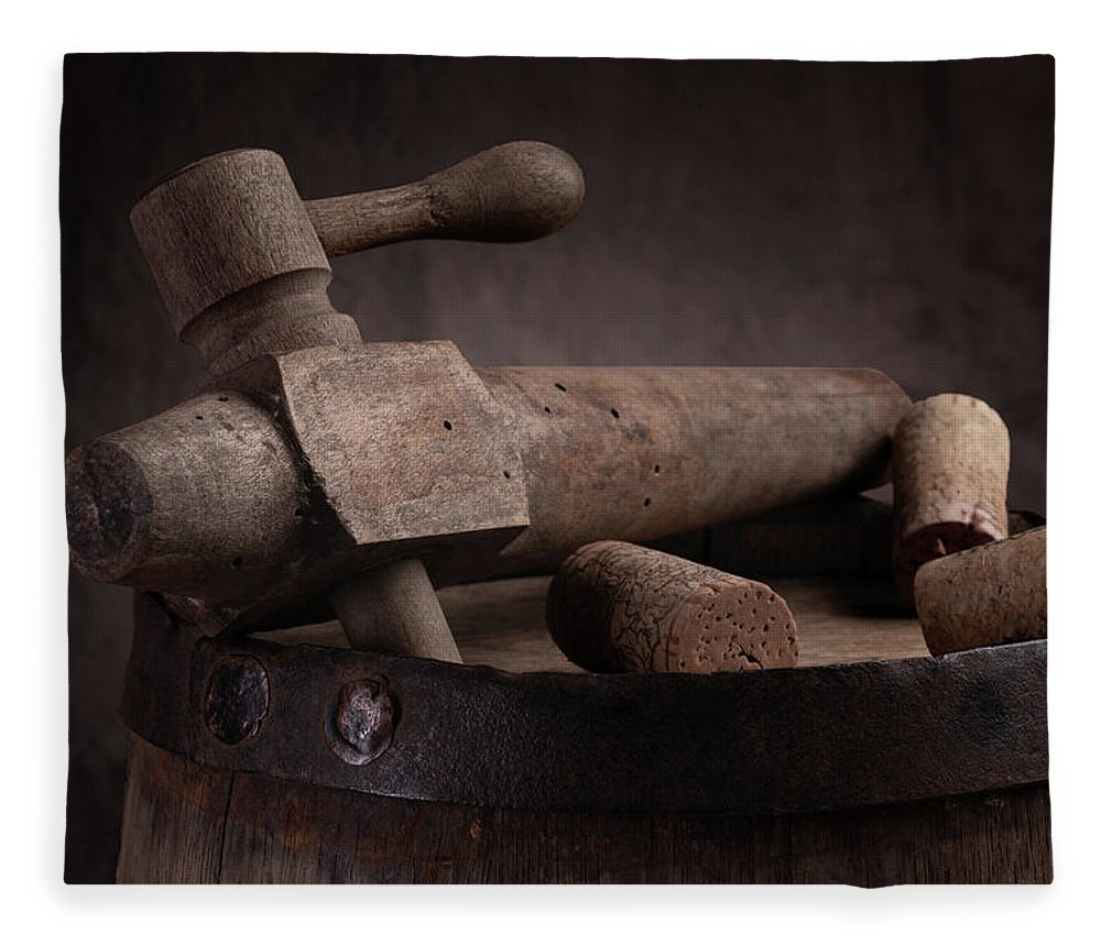 Aged Fleece Blanket featuring the photograph Barrel Tap With Corks by Tom Mc Nemar