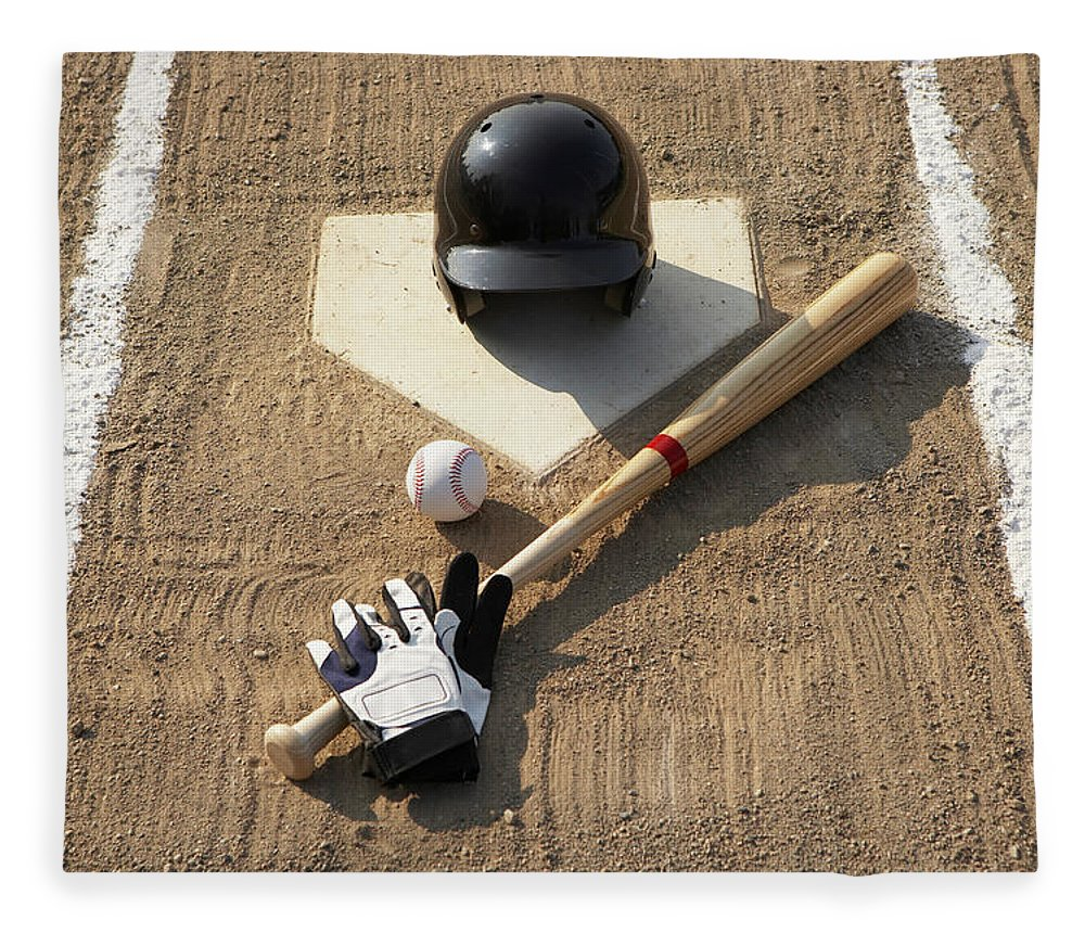 Shadow Fleece Blanket featuring the photograph Baseball, Bat, Batting Gloves And by Thomas Northcut
