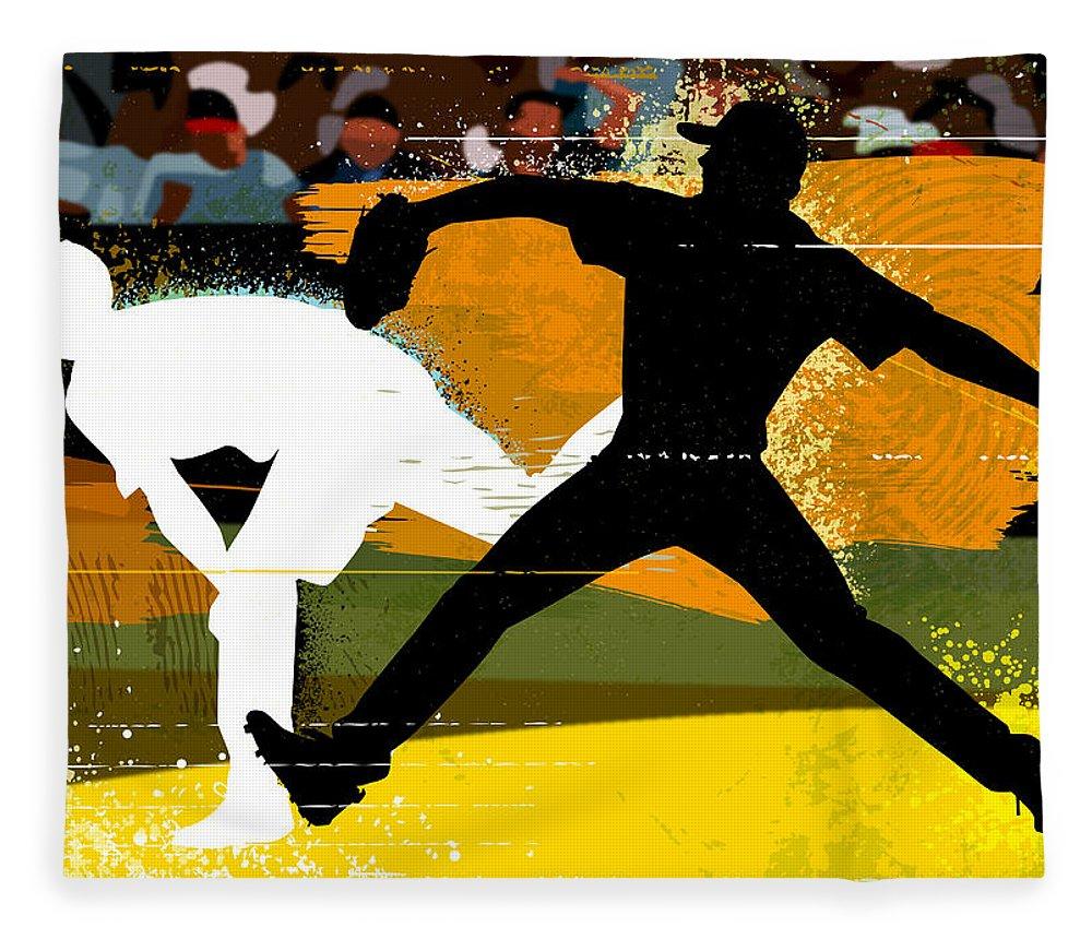 Baseball Cap Fleece Blanket featuring the digital art Baseball Pitcher Throwing Baseball by Greg Paprocki