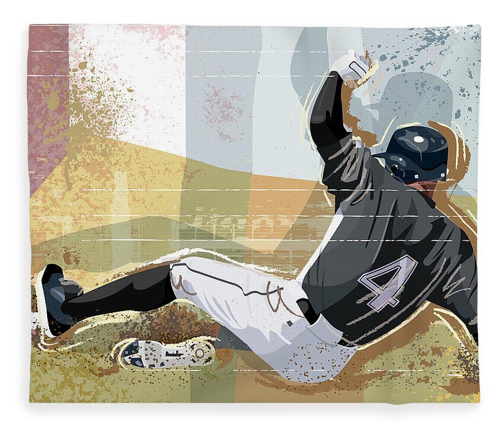 Sports Helmet Fleece Blanket featuring the digital art Baseball Player Sliding Into Base by Greg Paprocki